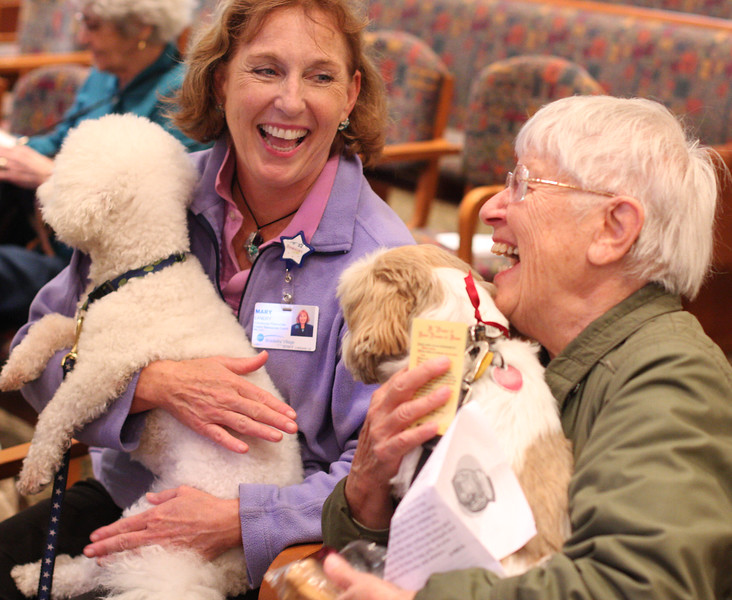 Mary Landry, and Oliver, and Florence Wilson with Peppie share a chuckle during the blessing of the Pets service at Brooksby Village in Peabody today.