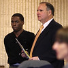 Jaleel Floyd, left, and his lawyer Russ Sobelman in Lynn District Court today where Floyd was arraigned for murder. Photo by Owen O'Rourke