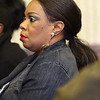 Annetra Collins, mother of the defendent Jaleel Floyd, in Lynn District Court today watching Floyd being arraigned for murder. Photo by Owen O'Rourke