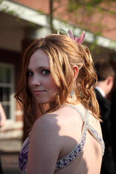 Alaina Breed  poses for a picture before loading buses to the prom Friday My 27, 2011. Item Photo/ Reba M. Saldanha