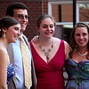 (from left) Kati Hahn, math teacher Mr Dana, Gabbie Claveau, and Brittany Murtaugh pose for a picture before loading buses to the prom Friday My 27, 2011. Item Photo/ Reba M. Saldanha