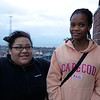 Mariama Barry, age 13, and Alisha Cruel, 13, pose for a photo at the top of the High Rock Observatory on Tuesday, November 15. Item Photo / Angela Owens.