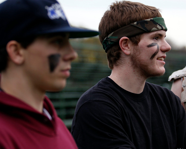 """Billy Valle, a senior at Swampscott High School, discusses """"no homework days"""" while coaching powder puff football on Monday, November 14. Item Photo / Angela Owens."""