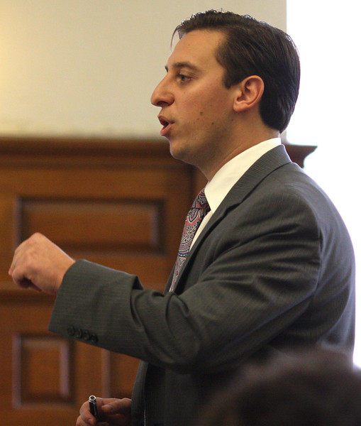 Defense attorney Joseph A. Boncore questions a witness at the Arias trial today in Salem Superior Court.