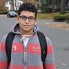 Saugus High freshman Rudy Bocanegra walking home from school Tuesday. Item Photo / Matt Tempesta
