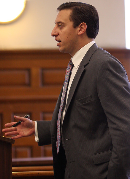 Defense Lawyer Joseph A. Boncore questioning a witness in Salem Superior Court today.