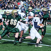 Thankgiving game Lynnfield vs N. Reading.<br /> #4 Kyle McGah, Lynnfield,  with ball, #66 Michael Cresta, N. Reading, #64 Andrew Kibarian, #82 Michael Soden, #56 Connor Lordan all Lynnfield.