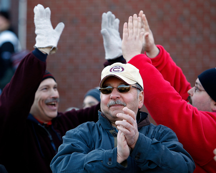 Marblehead fans celebrate a touchdown during their game against Swampscott at Christopher Piper Field in Marblehead on Thursday, November 24. Item Photo / Angela Owens.