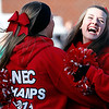 Marblehead cheerleaders celebrate a touchdown during their game against Swampscott at Christopher Piper Field in Marblehead on Thursday, November 24. Item Photo / Angela Owens.