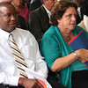 Fitzroy Alexander President of Traditional Breads, sitting next to Joanne Goldstein, Sec. of Labor and Workforce Development at  the Certificate of Recognition Awards at the New Americn Center in Lynn today.
