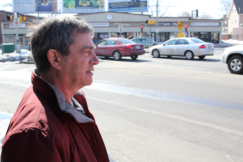 Tim Tenney, the owner of Wyoma Square True Value Hardware, talks about how the impending construction will effect him. Photo by Owen O'Rourke