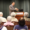 Congressman Seth Moulton speaking to residents of Brooksby Village today. This was Moulton's first visit to Brooksby since his election to Congress in November. Photo by Owen O'Rourke