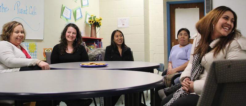 Stacey Parisi, Jullian O'Brien, Ieda Roblero, Paula Crisostomo, and Cristina Acevedo are members of the Ingalls School parent participation group. Photo by Owen O'Rourke