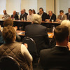 Attendance at today's Lynn Business Partnership meeting at Eastern Bank in Lynn was two rows deep. Photo by Owen O'Rourke