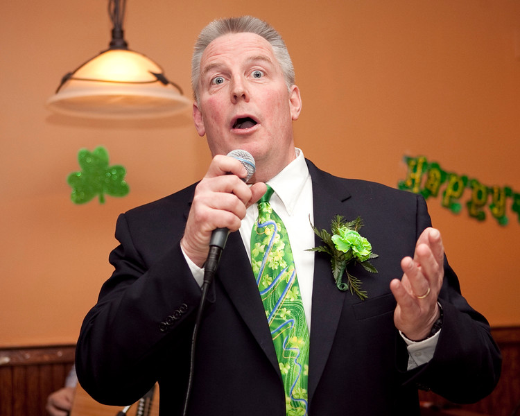 Michael Reddy accepts the Irishman of the Year award during the Friendly Knights of Saint Patrick dinner at Old Tyme Italian Cuisine on Thursday, March 13. Item Photo / Angela Owens.