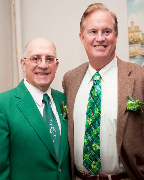 Community Service Award winner Patrick Gecoya and Dr. Dan Dill pose for a photo during the Friendly Knights of Saint Patrick dinner at Old Tyme Italian Cuisine on Thursday, March 13. Item Photo / Angela Owens.