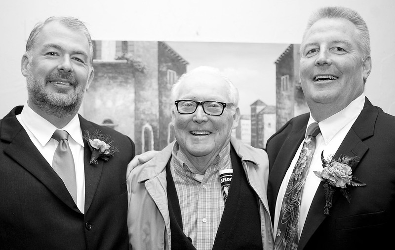 William McDonal, Tom Reddy, and Irishman of the Year Michael Reddy pose for a photo during the Friendly Knights of Saint Patrick dinner at Old Tyme Italian Cuisine on Thursday, March 13. Item Photo / Angela Owens.