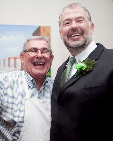 John Pace, left, and William McDonal pose for a photo during the Friendly Knights of Saint Patrick dinner at Old Tyme Italian Cuisine on Thursday, March 13. Item Photo / Angela Owens.