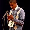 """Lynn, Lynn City Hall. The Daily Item Regional Spelling Bee. Joseph Severe, grade 8, Pickering Middle School struggles with the word """"Swahili""""."""