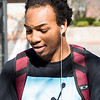 """NSCC student Keyshawn Bridgeman listens to """"Out Here Grindin'"""" by DJ Khaled as he walks to the bus."""