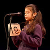 Lynn, Lynn City Hall. The Daily Item Regional Spelling Bee.  Sofia Valencia, a sixth grader at Higgins Middle School, Peabody, spells out a word on the back of her number card before answering. She was one of several students left in the competition toward the end.
