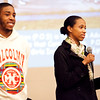 Nehemie Alcindor and Hulerie McGuffie speak on behalf of Girls Inc. at the Youth Forum at Temple Ahabat Shalom in Lynn on Thursday, March 15. Item Photo / Angela Owens.