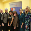 From left to right: Ryan Mudawar, Mass. Life Science, Richard Held, Director of Science City of Lynn, Dr. Cathy Latham, Superintendent Lynn, Banafsheh Salamat, Sceince Department Chair, Cindi Quaratiello, Science teacher Breed Middle School, Dr. Susan Windham-Banaster Ph.D , President & CEO, Rachel Attridge, Lead Science teacher at Marshall Middle School, Robert Buontempo Jr. Principal of Lynn Vocational Technical Institute at the Massachusetts Life Science Center at Roxbury Community College today. Photo by Owen O'Rourke