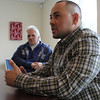 Robert Michael Linnane, left, and David Sequeira, right, talk about their experiences as homeless vets. Photo by Owen O'Rourke