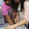 Taliah Burton, left, and Karla Paulino, right, see how many pennies they get  into their boat before it sinks at the Absolutely Incredible Kid Day held at the Shoemaker Elementary School. They put in 26. The record is 42 pennies held by the Aborn School. Photo by Owen O'Rourke