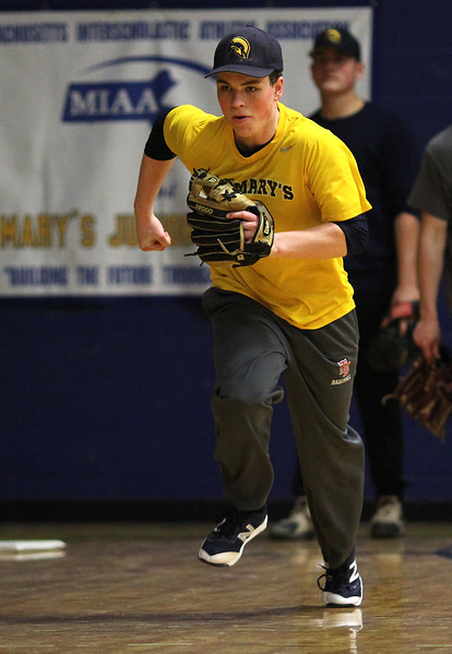 Jack Ward at baseball practice at St. Mary's High School in Lynn. Photo by Owen O'Rourke