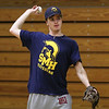 Matthew Costanza during baseball practice at St. Mary's High School in Lynn. Photo by Owen O'Rourke