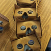 The virtual reality goggles used in the Google Expeditions Pioneer Progarm being held at the Swampscott Middle School. Photo by Owen O'Rourke