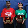 Chayanne Jean Baptiste (Ingalls School) left, and Eliza Brown (Sewell-Anderson School) are the two MVP's in this year's girl's all-star basketball game held at the Sisson School on Saturday. Photo by Owen O'Rourke