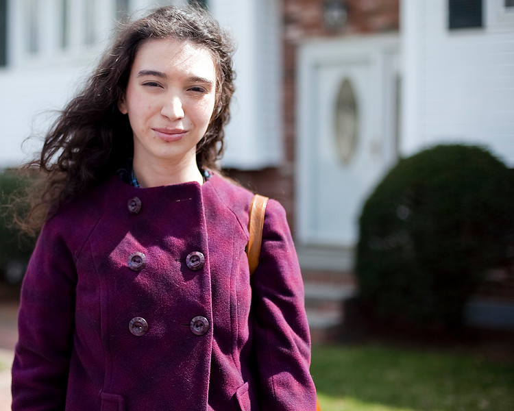 Lindsey Gallagher, 18, gives her opinion on the Saugus High School prom dress code, on Highland Avenue in Saugus on Tuesday, April 10. Item Photo / Angela Owens.
