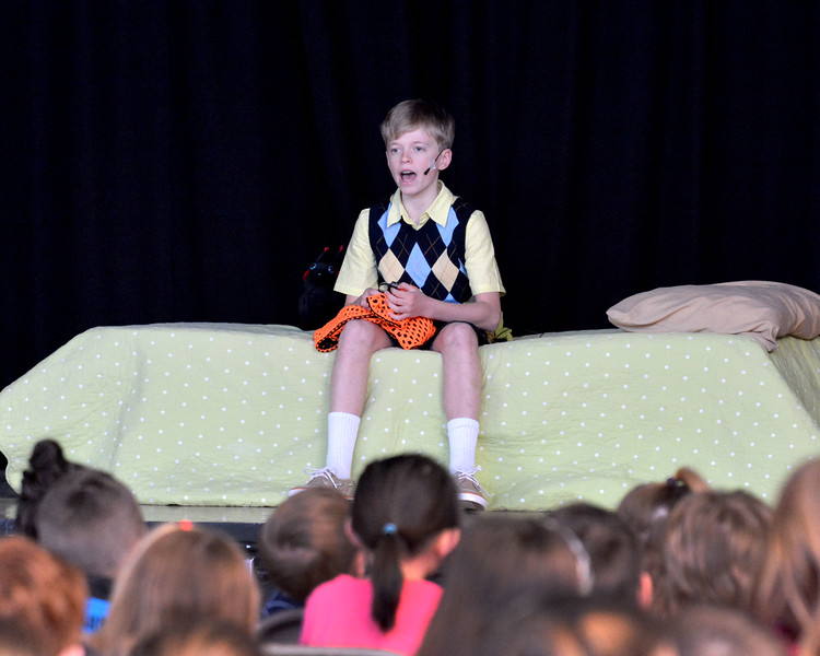"""Nahant. Johnson School. Dress rehearsal for the play James and the Giant Peach.  Students attended. Jamie Godwin as """"James"""" in the opening scene."""