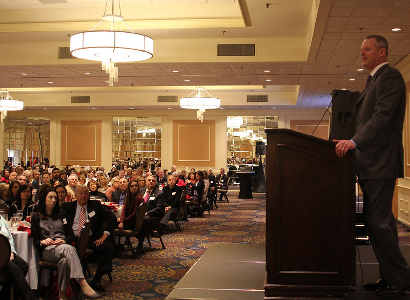 Governor Charlie Baker was the Strong, Smart and Boldl Honoree at the 28th annual Girl's Inc. celebration luncheon. Photo by Owen O'Rourke