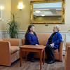 Lynn. Lynn Home for Women, Broad Street. Alcove off the dining room.   lft. Lisa Connolly talks with rt. Loretta Cuffe O'Donnell, Lynn.