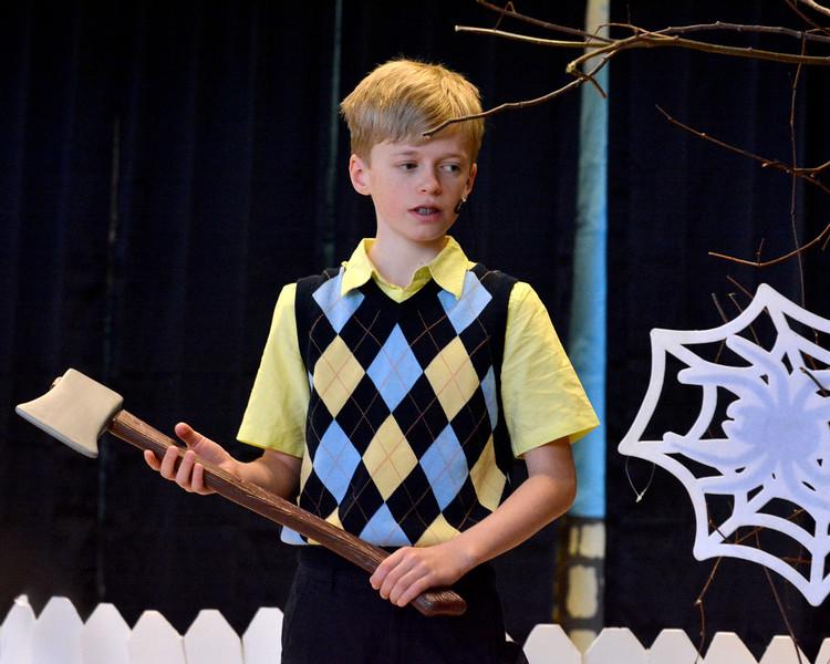 """Nahant. Johnson School. Dress rehearsal for the play James and the Giant Peach.  Jamie Godwin as """"James"""""""