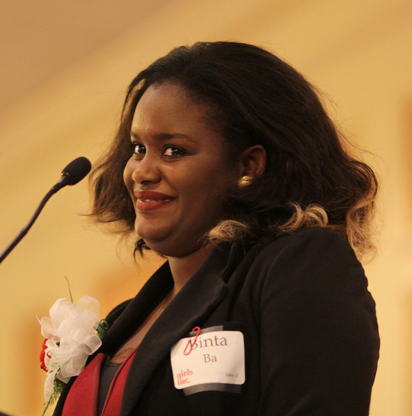 Girl Hero Binta Ba giving her acceptance speech at the 28th annual Girl's Inc. celebration luncheon. Photo by Owen O'Rourke