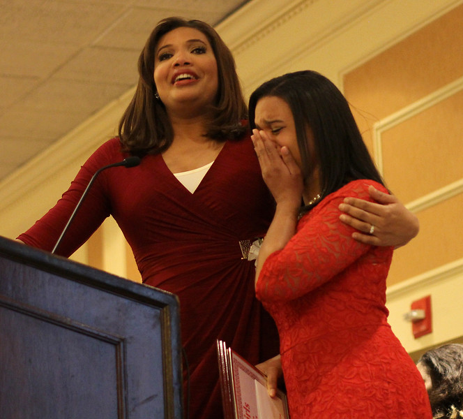 Master of ceremonies Latoyia Edwards, NECN Morning Anchor, left, with Girll Hero Tiana Evelyn at the 28th annual Girl's Inc. celebration luncheon. Photo by Owen O'Rourke