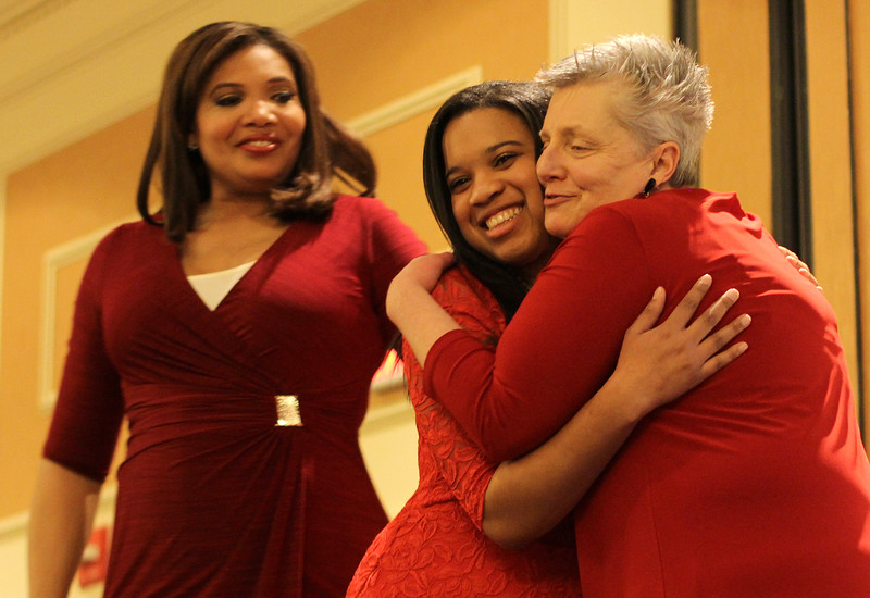 Latoyia Edwards, NECN Moring Anchor, left, Tiana Evelyn, middle, Girl Hero, and Deb Ansourlian, Executive Director of Girl's Inc giving out awards at the 28th annual Girl's Inc. celebration luncheon. Photo by Owen O'Rourke
