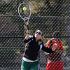 Third singles tennis player Kayla O'Brien playing against Somerville today. Photo by Owen O'Rourke