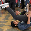 Zach Say demonstrating his dancing skills at the Harmony Among Lynn Teens Conference at the Lynn Vocational Technical Institute  in Lynn on Saturday March 31. Photo by Owen O'Rourke