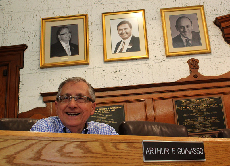 Arthur F. Guinasso in his chair in council chambers at Revere City Hall. Photo by Owen O'Rourke