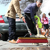 Albaro Zapet, left, and Pastor Eduardo Caceres, right, get ready for the 500 volunteer city clean up in Lynn this Saturday. Photo by Owen O'Rourke
