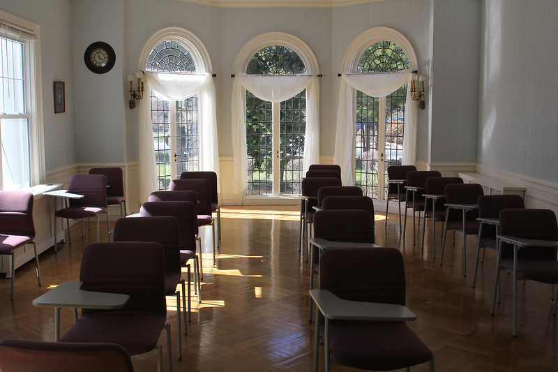 One of the two classrooms in the mansion portion of Marian Court College in Swmpscott.The remainder of the classrooms are in an adjacent wing that was added latter on.  Photo by Owen O'Rourke