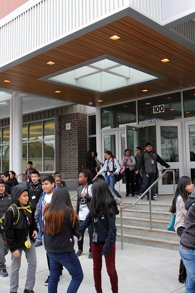 Marshall Middle School students leaving the new school at the end of day one. Photo by Owen O'Rourke
