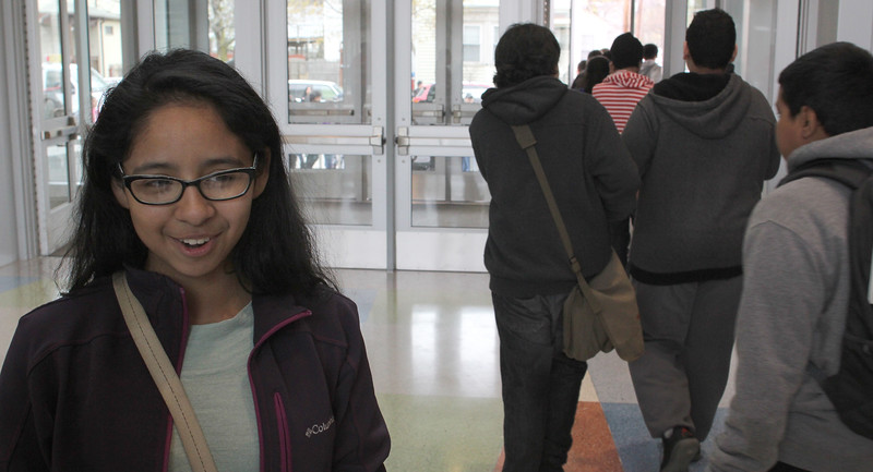 Yailyn Mauricio talks about her first day in the new Marshall Middle School. Photo by Owen O'Rourke