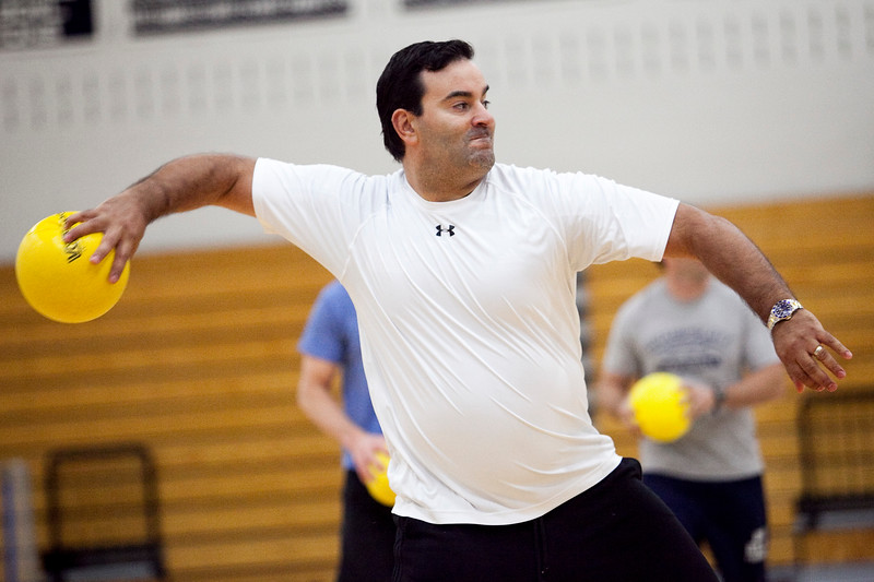 Steve Dembowski hurls a ball during the dodgeball tournament at Swampscott High School on Wednesday, April 4. Item Photo / Angela Owens.