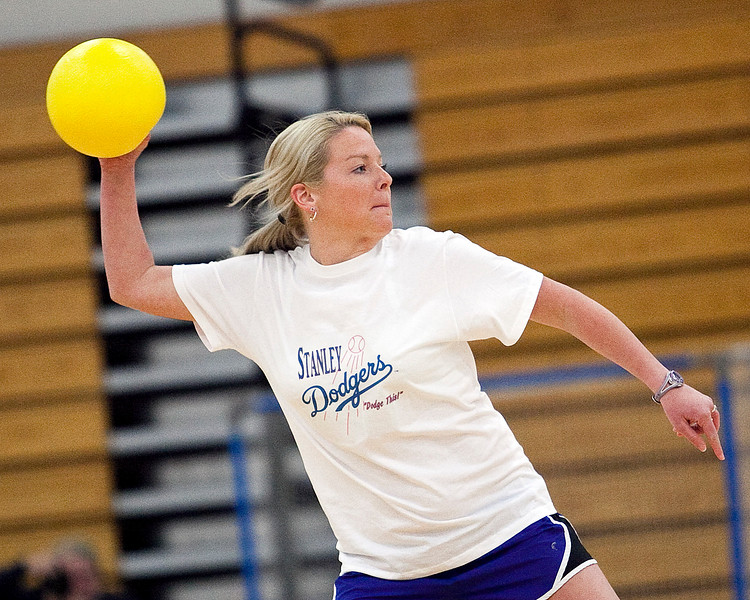 Liz Jones throws a ball during the dodgeball tournament at Swampscott High School on Wednesday, April 4. Item Photo / Angela Owens.